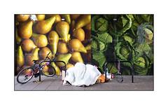 Homeless Man's Supermarket Pitch, East London, England.