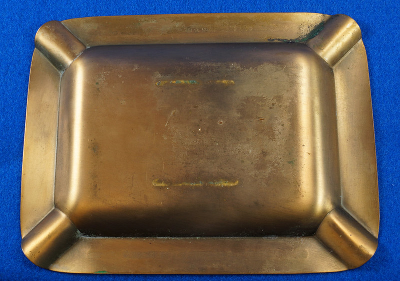 RD14480 1952 Brass Ashtray Washington State Federation of Labor Tacoma Union Made DSC06145