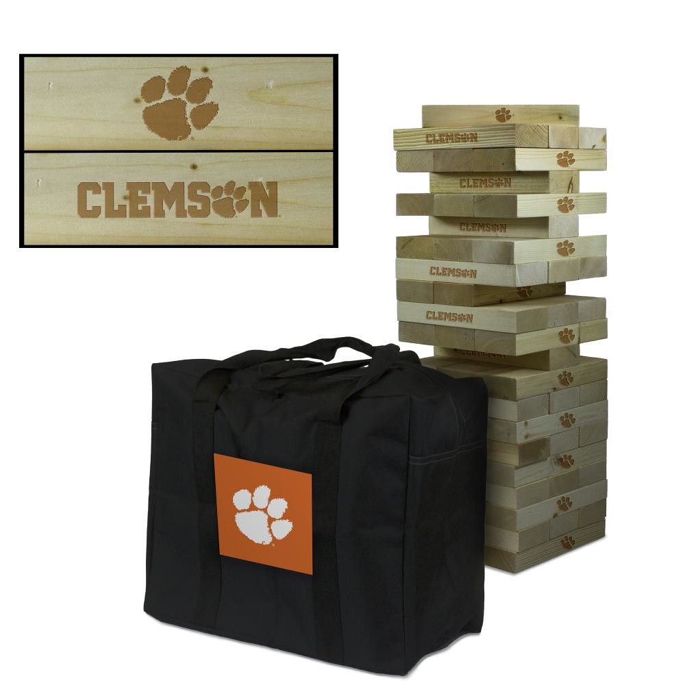 Clemson University Tigers wooden tumble tower game