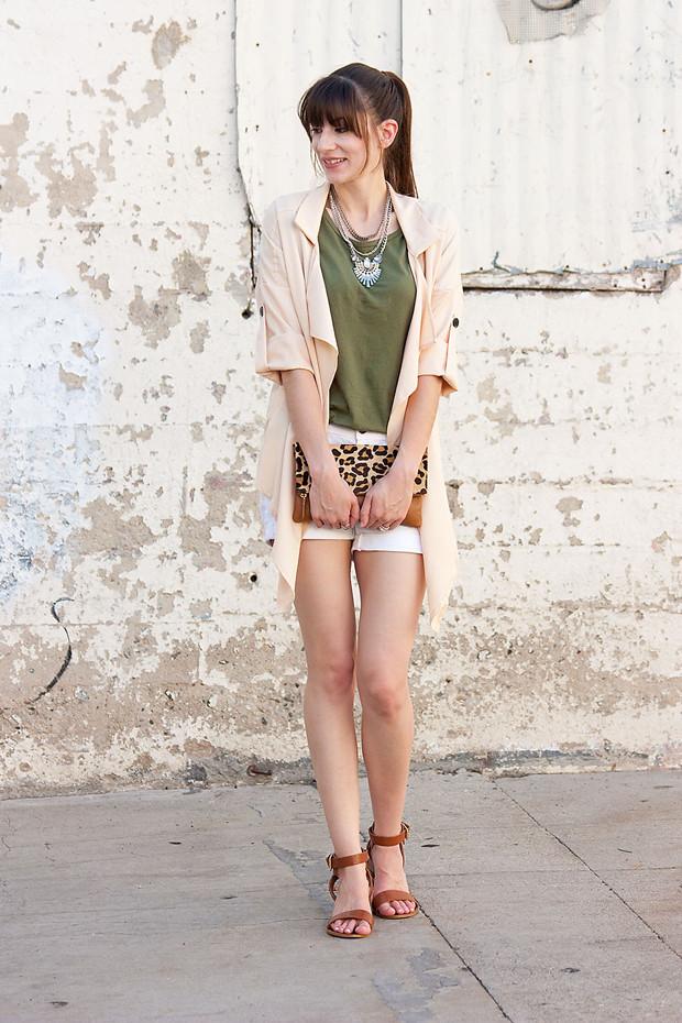 Lookbook Store Jacket, Peach Jacket, Green Tee, Leopard Clutch
