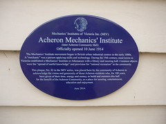 Photo of Acheron Mechanics' Institute blue plaque
