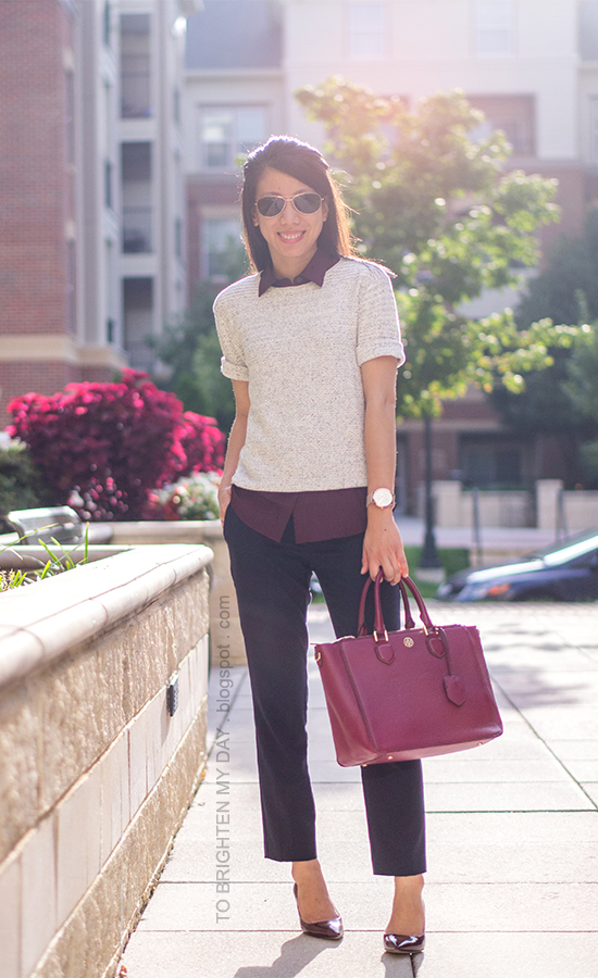 burgundy top, gray short sleeve sweater, navy pants, oversized watch, burgundy pumps