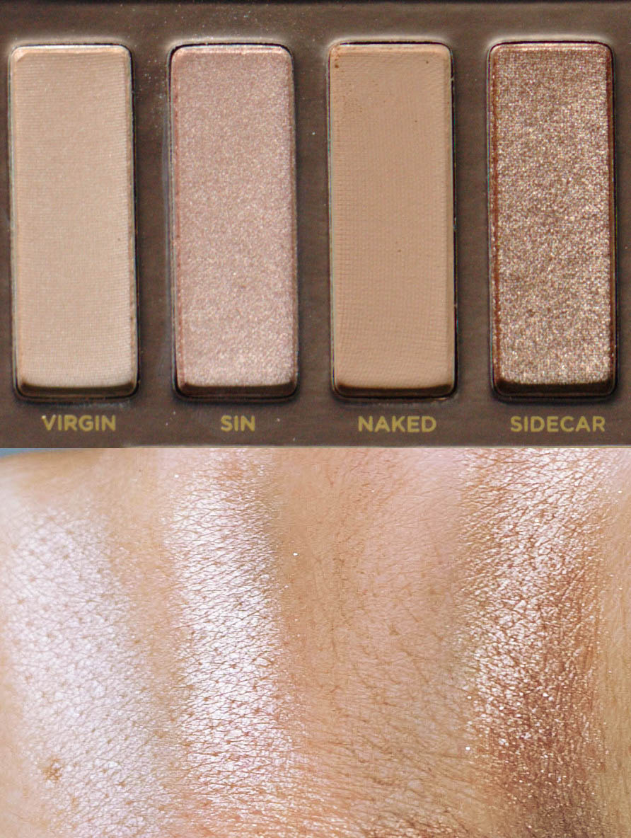 Naked original swatches: Virgin, Sin, Naked and Sidecar