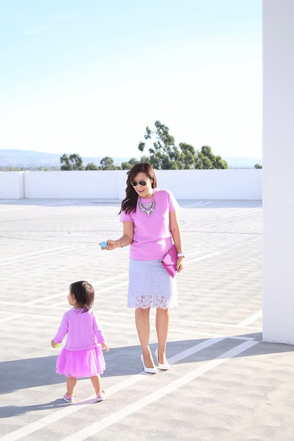 simplyxclassic, miriam gin, jcrew, mommy and me, mom blogger, fashion, style, ootd, todderl outfits, crewcuts, pink sweater, lace skirt, tulle skirt
