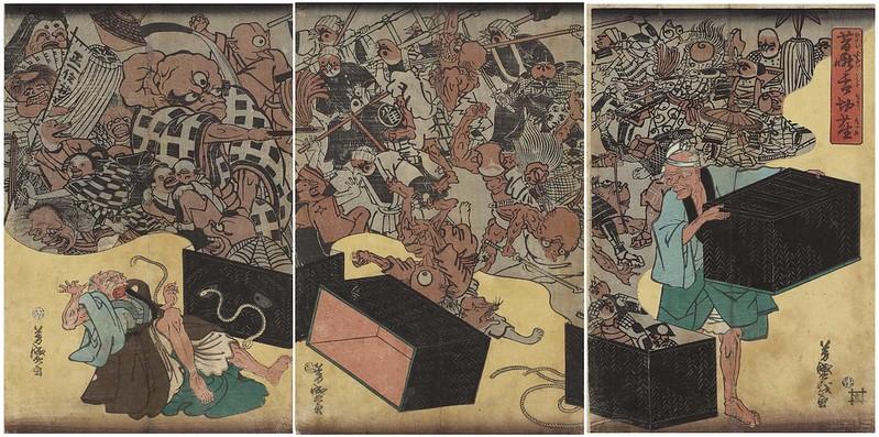 Utagawa Yoshimori - The Old Story of the Tongue-Cut Sparrow, 1864