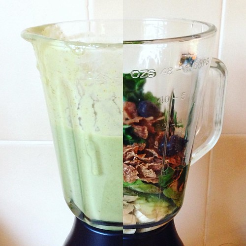 GREEN SMOOTHIE  Breakfast Smoothie  1 Avocado - Frozen 1 Banana - Ripe 1 Cup Spinach 1/2 Cup Bran Flakes 2 Dates 1 TeaSpoon Carob or Cocoa Powder Water as need.  -Blend & Enjoy   {More Recipes ON THE BLOG}  -link in Bio   #smoothie #greensmoothie #vegan #
