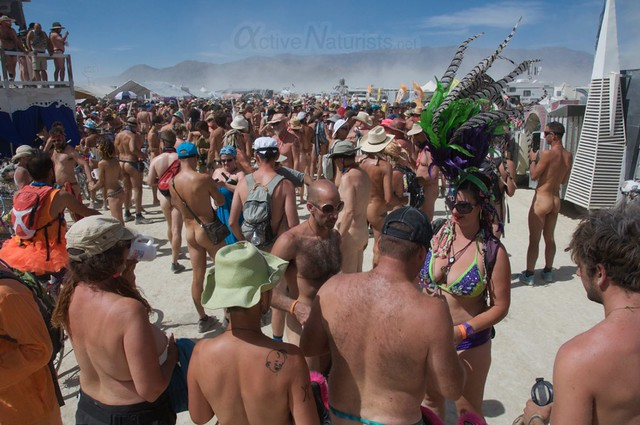 naturist naked pub crawl 0003 Burning Man 2015, Black Rock City, Nevada, USA