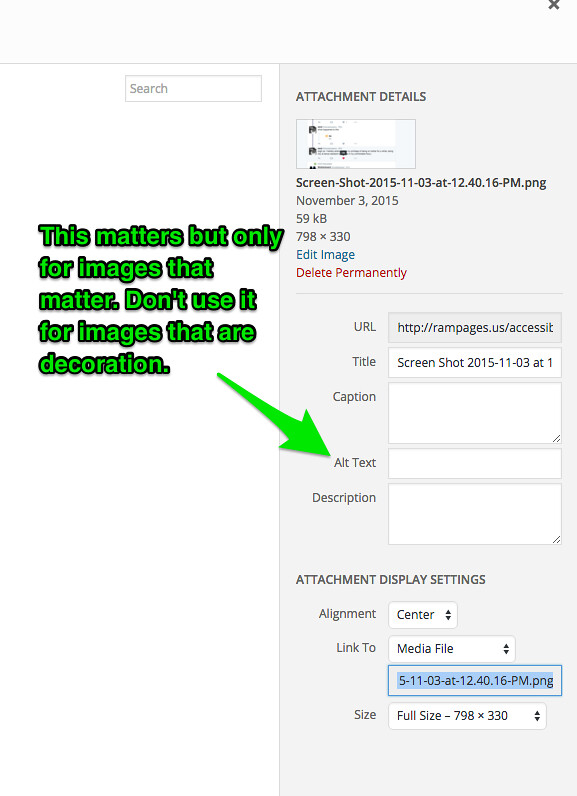 screenshot of arrow showing that the alt text box in WordPress is the fourth entry field from the top when uploading media. Text overlay indicates that alt text should only be used for content images, not for decorative images.
