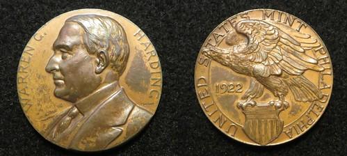 Harding 1922 Mint visit souvenir medal