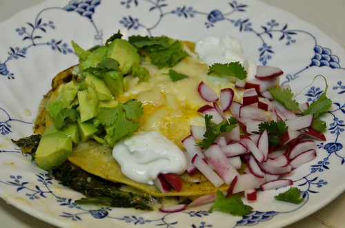Kale & Monterey Jack Quesadillas with Avocado, Radishes & Fried Eggs