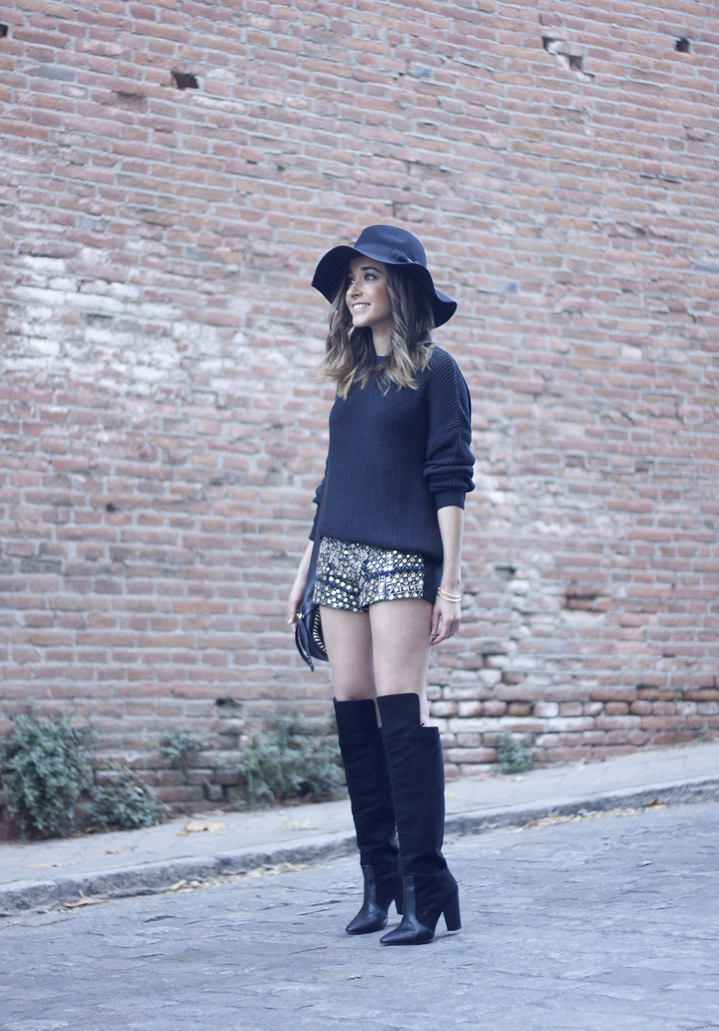 embroidered shorts black hat over the knee boots black sweater pull and bear purse coach outfit23