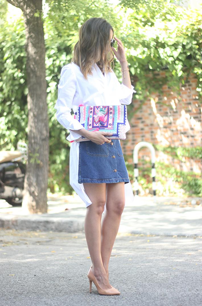 Long Shirt With Denim Skirt Summer Outfit 03