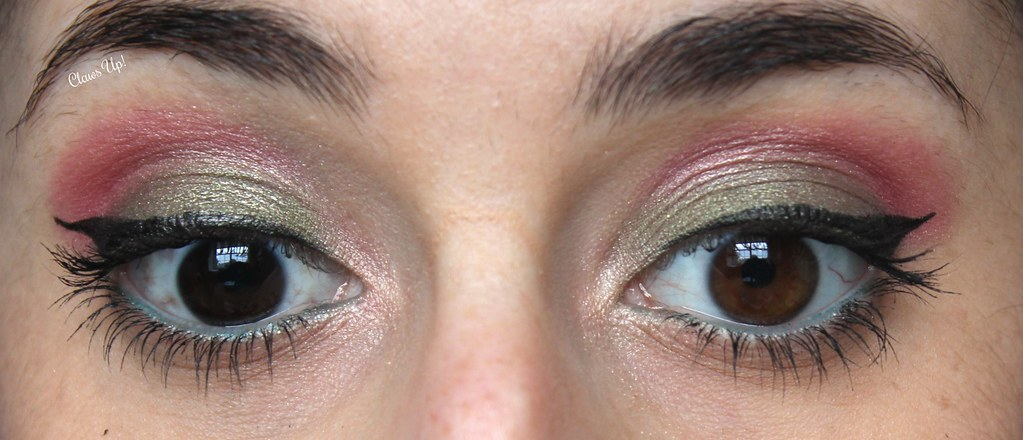 Green and pink makeup look