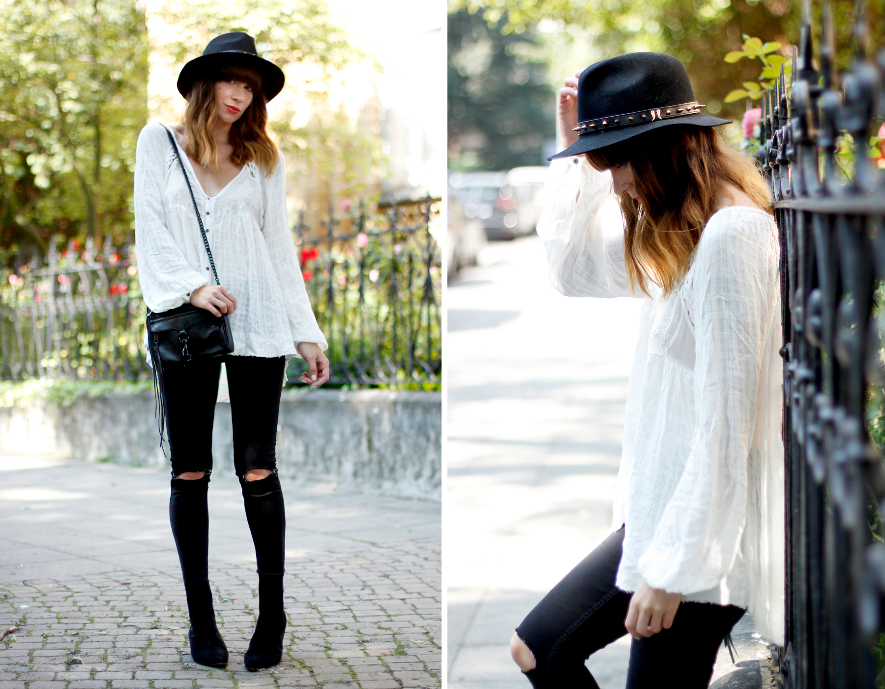 outfit hippie blouse shopbop ash booties berenice hat rebecca minkoff bag autumn fall look black and white cats & dogs fashion blog düsseldorf hannover ootd ricarda schernus blog 4