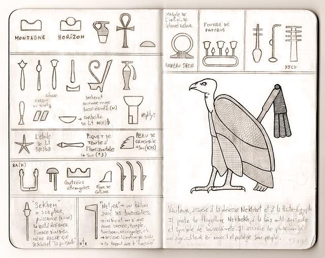 Carnet de voyage hiéroglyphique pages 06 & 07
