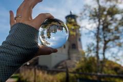 Split Rock Lighthouse as seen through a crystal ball
