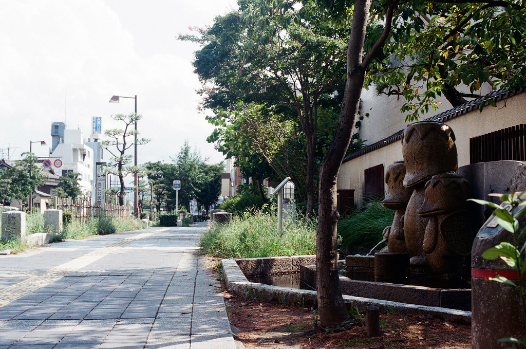 当仁小学校 福岡 Fukuoka 2015/09/03 這隻河童站在路邊。  Nikon FM2 / 50mm Kodak UltraMax ISO400 Photo by Toomore