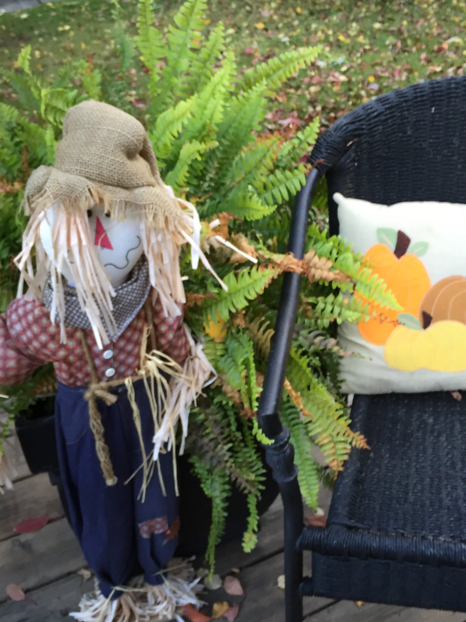 outdoor scarecrow Autumn decorations with pumpkin cushion