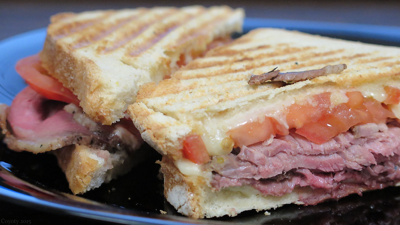Roast beef panini with horseradish mayo and provolone