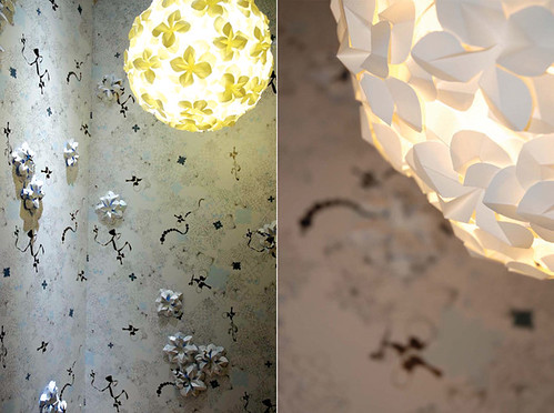 Dimensional Paper Lighting with Dimensional Wallpaper by Hanna Nyman