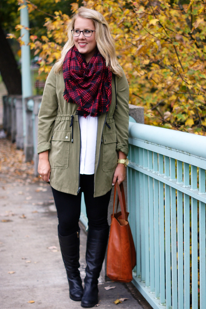 forever 21 scarf with old navy parka