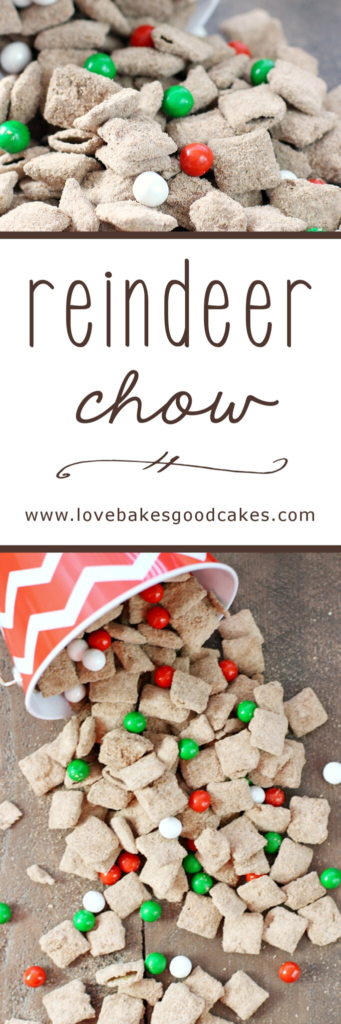 It's easy to turn the classic Muddy Buddies recipe into Reindeer Chow! It's the perfect seasonal snack that is loved by kids and adults!