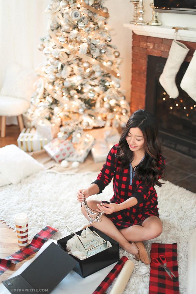 buffalo check christmas pajamas gift wrapping