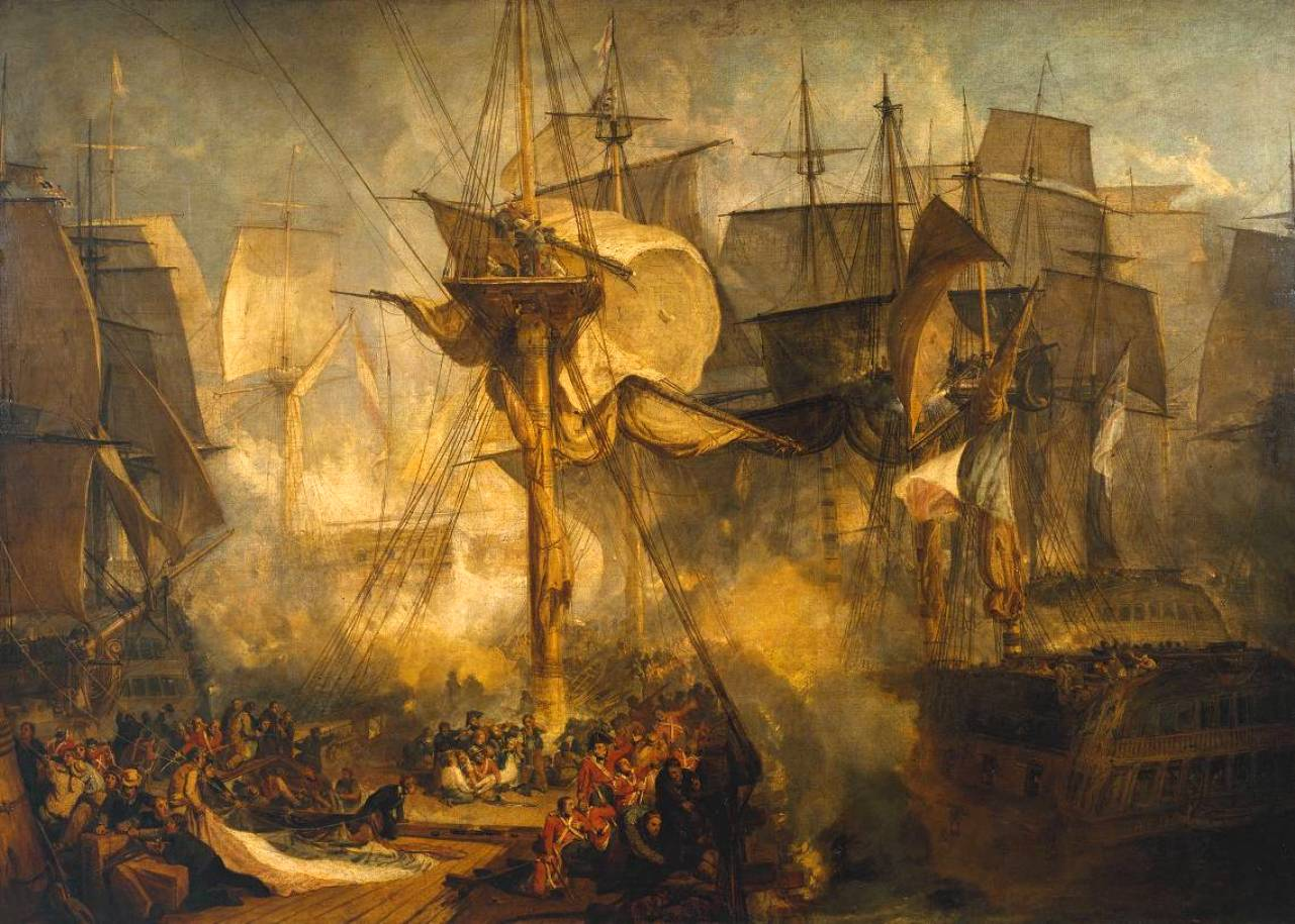 The Battle of Trafalgar, as Seen from the Mizen Starboard Shrouds of the Victory by Joseph Mallord William Turner, 1808