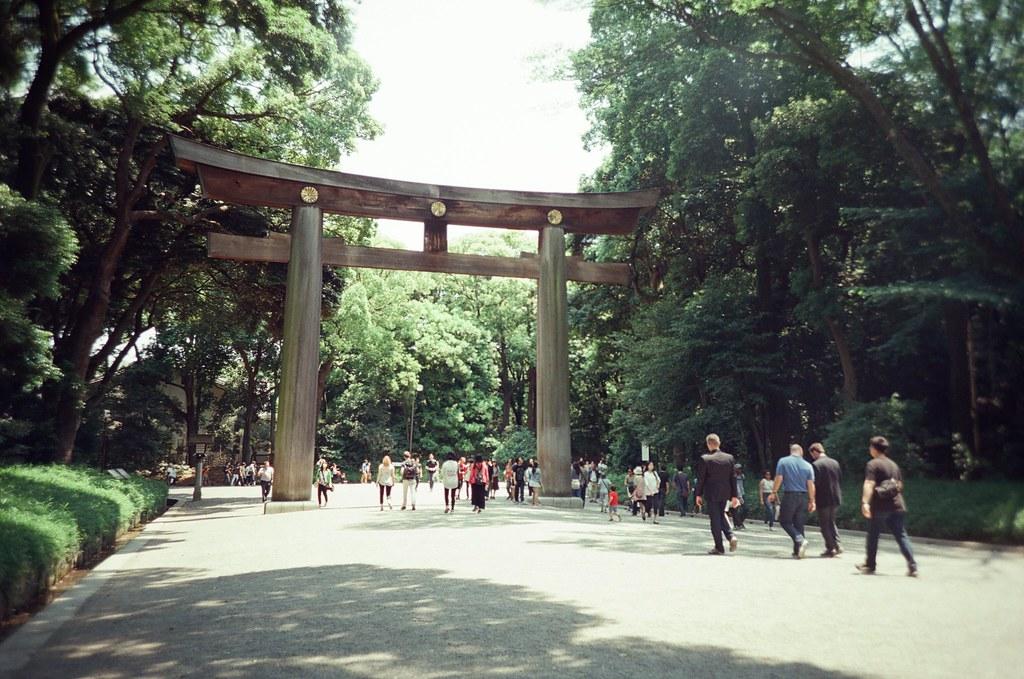明治神宮 Tokyo, Japan / KODAK 500T 5219 / Lomo LC-A+ 明治神宮門口有一座大的鳥居,然後進來後最後一個轉角還有一個。  我看到每次要離開神宮的人,經過鳥居都會轉身鞠躬。  久了我也慢慢習慣這樣,哈!  Lomo LC-A+ KODAK 500T 5219 V3 7393-0007 2016-05-22 Photo by Toomore