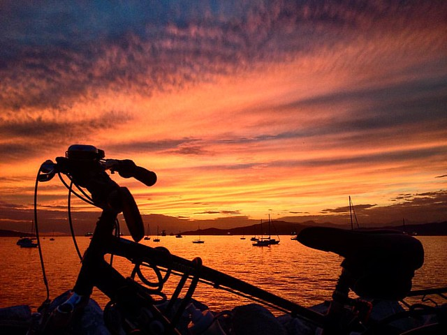 Thanks for another day... #sunset #goldenhour #ParkedBikesOfTheWorld #bike #bicycle #primeshots #landscape #igersVancouver #iphoneography #Vancouver #vancouversunset #seaside #seawall #nofilter