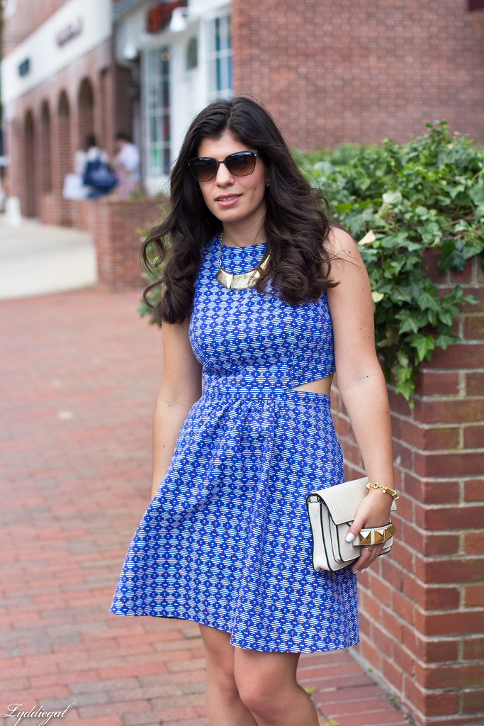 blue printed cutout dress, grayson bar bag.jpg