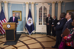 U.S. Secretary of State John Kerry delivers remarks at the U.S. President's Emergency Plan for AIDS Relief (PEPFAR) Diplomatic Reception at the U.S. Department of State in Washington, D.C., on September 2, 2015. [State Department photo/ Public Domain]