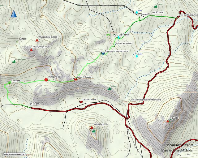 AIZKORRI raizk021 mapa25 detalle IBILBIDEAK Aranzadi valles Degurixa y Araotz