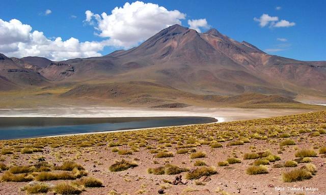 Miñiques Volcano, Laguna Miscanti  & Laguna Miñiques near Socaire, San Pedro de Atacama, El Loa Province, Antofagasta Region, Chile