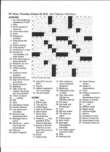NYT Thursday Puzzle - October 29, 2015
