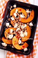 Roast pumpkin with mozzarella and nuts
