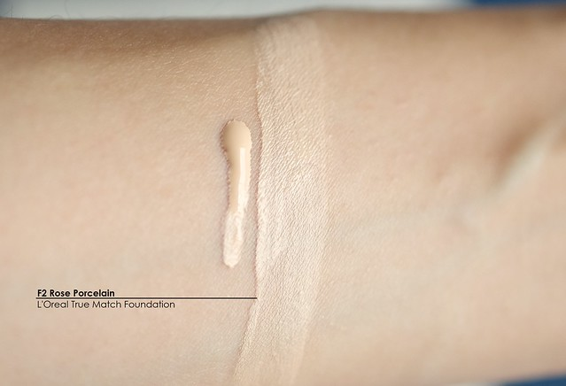 L'Oreal True Match Foundation F2 Rose Porcelain swatch