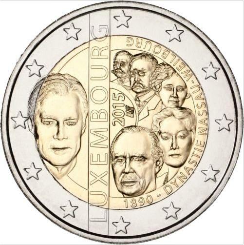 2 Euro Luxemburgsko 2015, 125. výročie dynastie Nassau-Weilburg