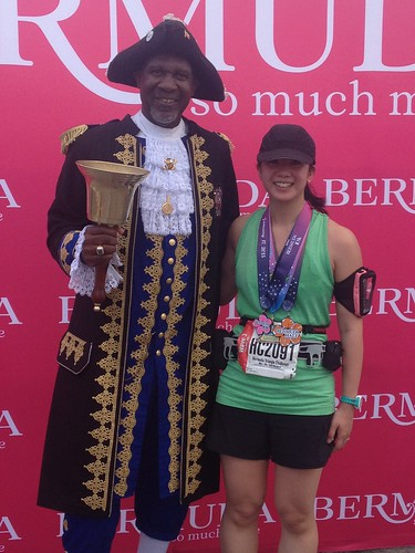 Mei with the Town Crier and all of her medals.