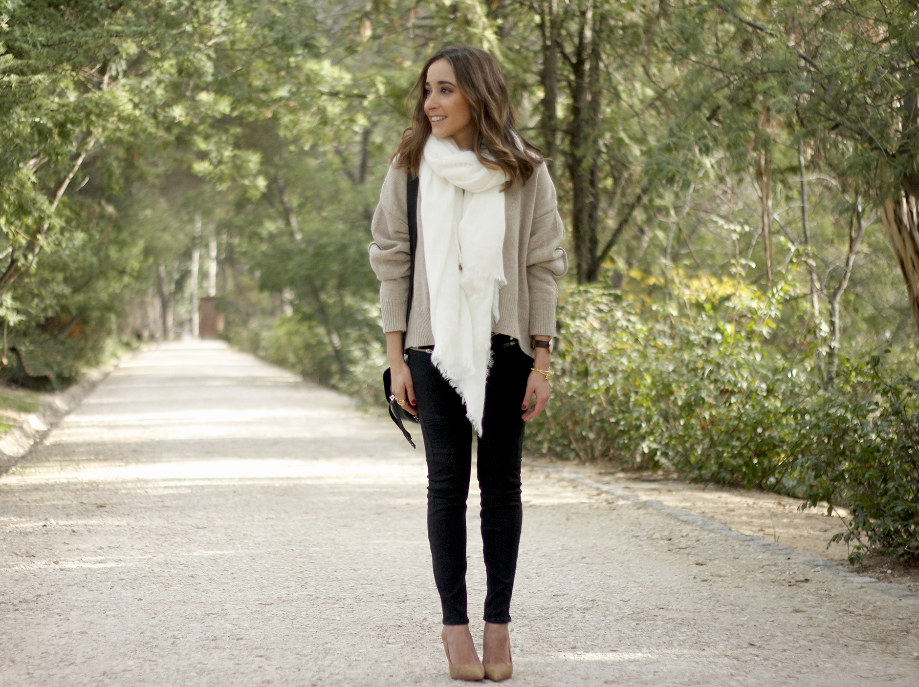 Beige Sweater Black Jeans Nude Heels White Scarf Coach Bag Outfit Style01