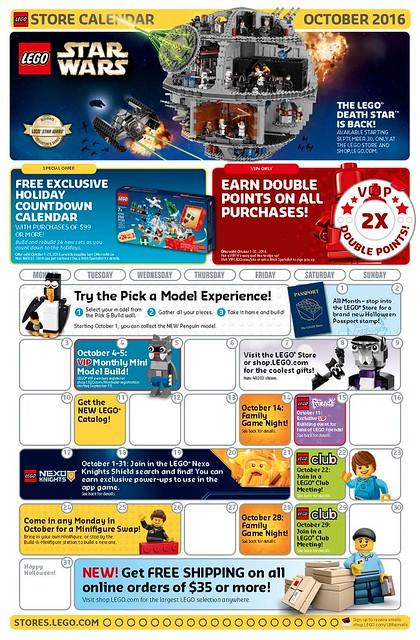 Lego Store Calendar October 2016 page 1