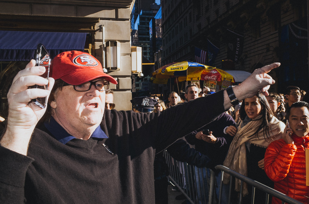Michael Moore at the march against Trump, New York City