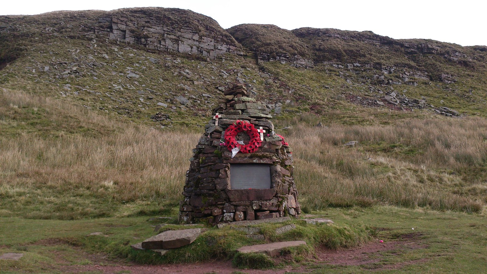 WWII Memorial for five Canadian Aircrew, by the Cwar y Gigfran SWC Walk 278 Breacon Beacons Horseshoe - Bannau Brycheiniog (Extension to Waun Rydd)