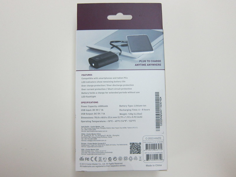 Cooler Master Power Fort 6,000mAh - Box Back