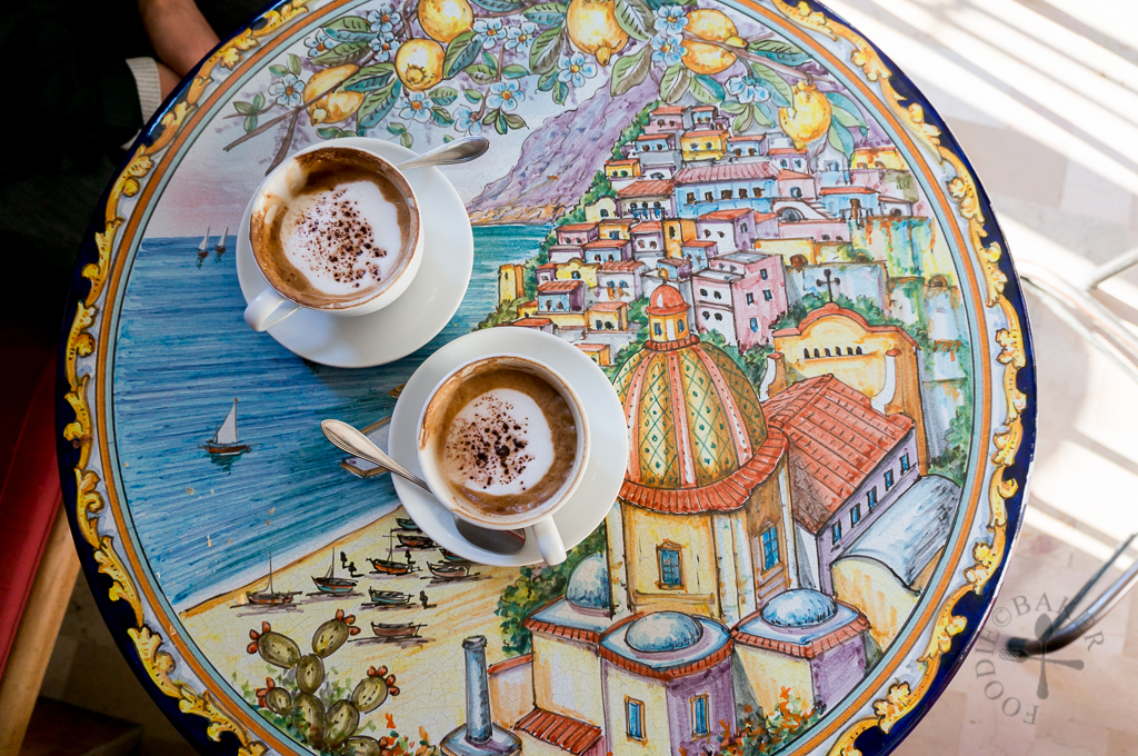 Having a coffee in Positano while waiting for the bus to Amalfi & Sentiero Degli Dei (Path of the Gods)