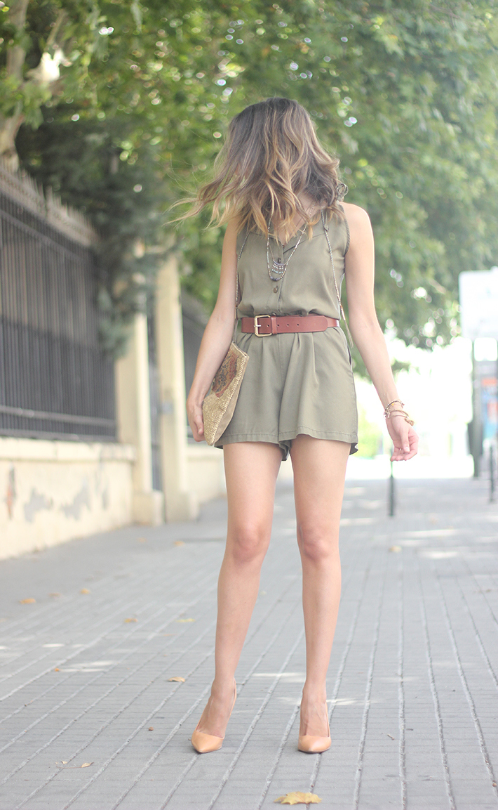 Khaki Jumpsuit Hat Clutch Summer Outfit 05