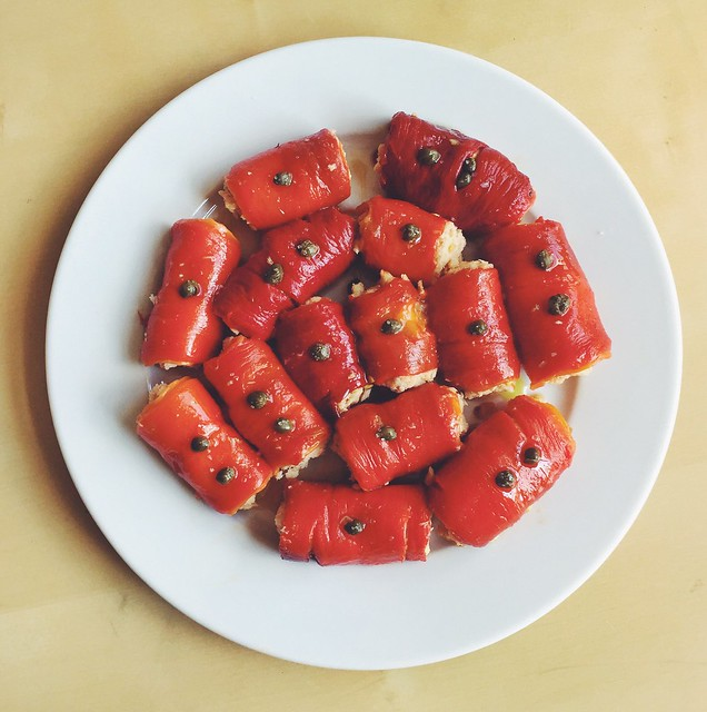 Involtini di peperoni arrostiti - roasted pepper rollups filled with tuna and breadcrumbs