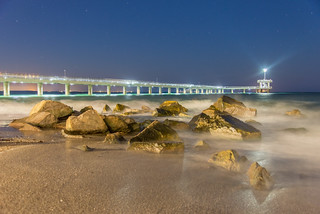 Obraz Централен Плаж. bridge beach water rock dusk wave bulgaria burgas българия бургас областбургас крайбрежнаалея жклазур