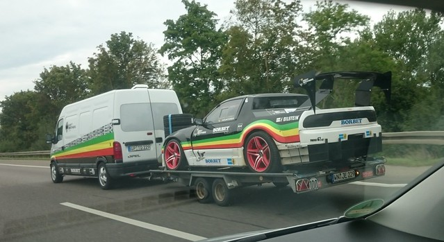 Nissan 200 Race Car on Trailer