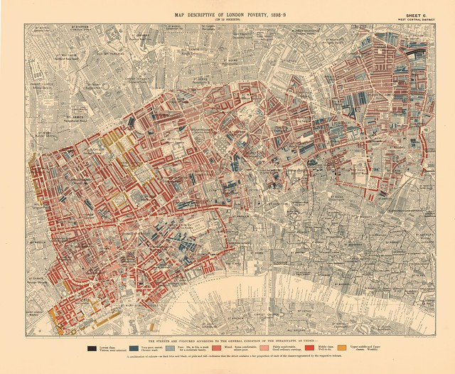 Printed Map Descriptive of London Poverty 1898-1899. Sheet 6. West Central District